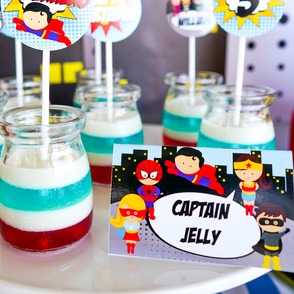 Superhero Boy Party Tent Cards