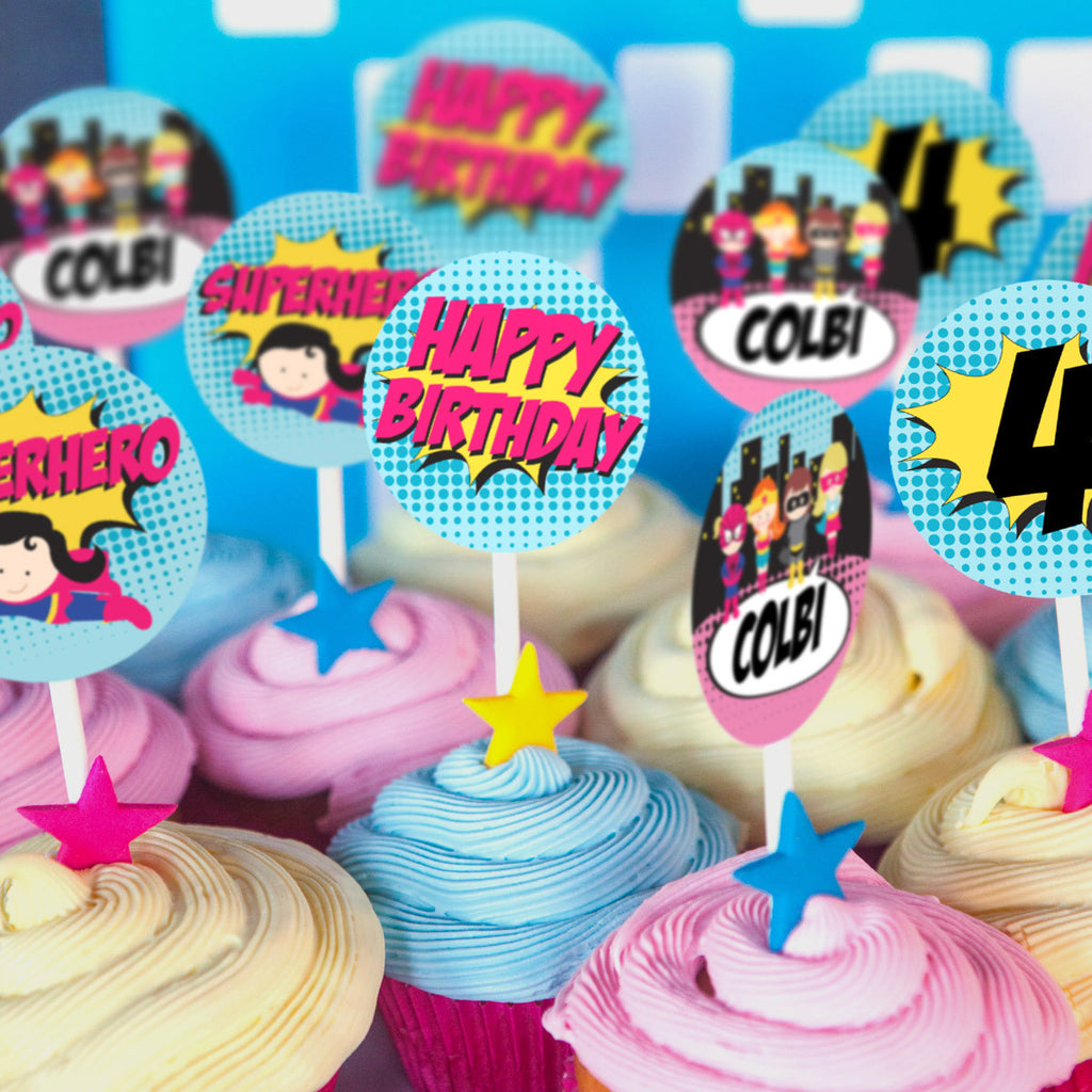 Girl Superhero Party Cupcake Toppers | Superhero Toppers