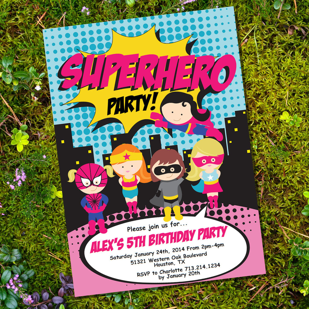 superhero party invitation for a boy printable invite sunshine