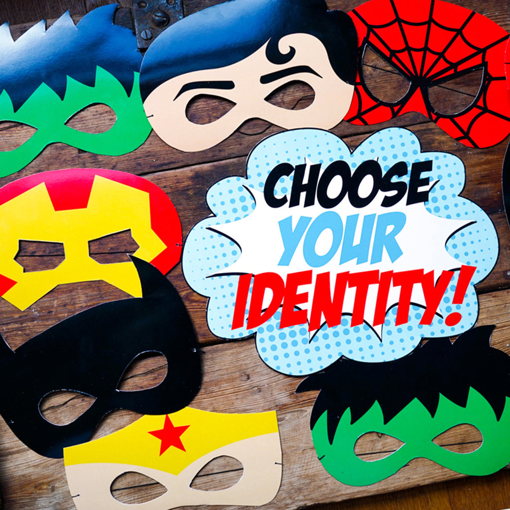 Superhero party printable masks are a hit at the party and as favors to take home!