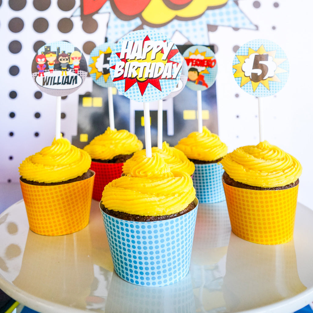 photograph relating to Superhero Cupcake Toppers Printable identified as Superhero Boy Cupcake Toppers and Wrappers Superhero Celebration Decorations