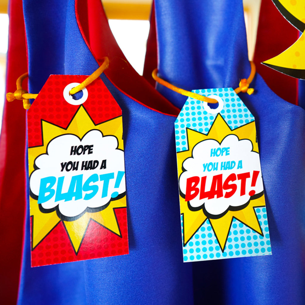 Superhero party favor tags - Hope you had a blast!