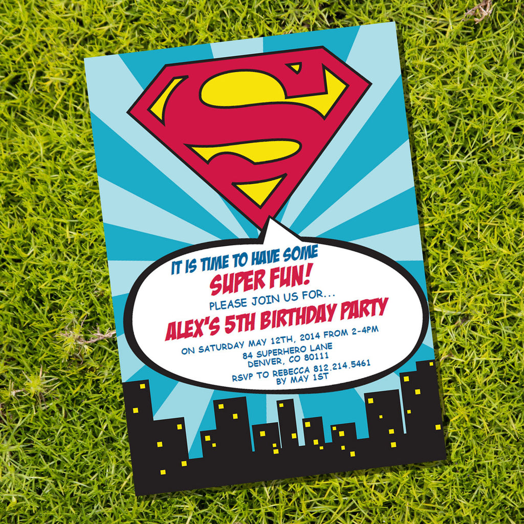 Superman Superhero Party Invitation