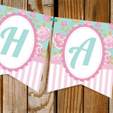Shabby Chic Tea Party Birthday Banner
