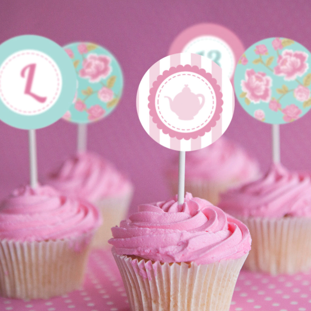 Shabby Chic Tea Party Cupcake Toppers | Vintage Floral Toppers
