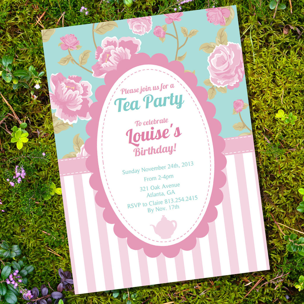 shabby chic tea party invitation vintage party invite sunshine
