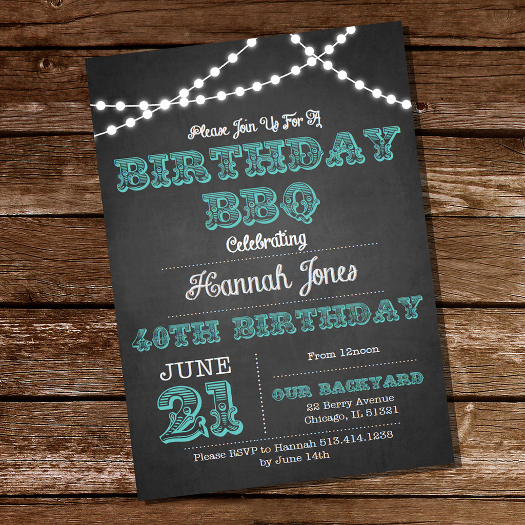 Chalkboard Teal BBQ Birthday Invitation