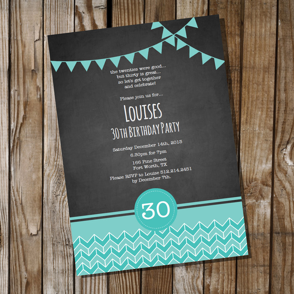 Chalkboard Teal Chevron Birthday Invitation