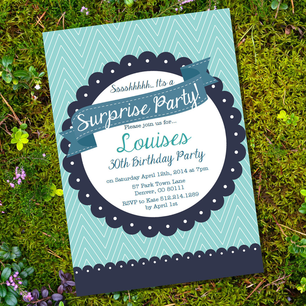 Surprise Birthday Invitation | Navy Blue and Teal Invite Template