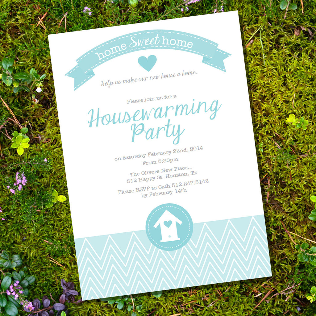 Teal Housewarming Party Invitation