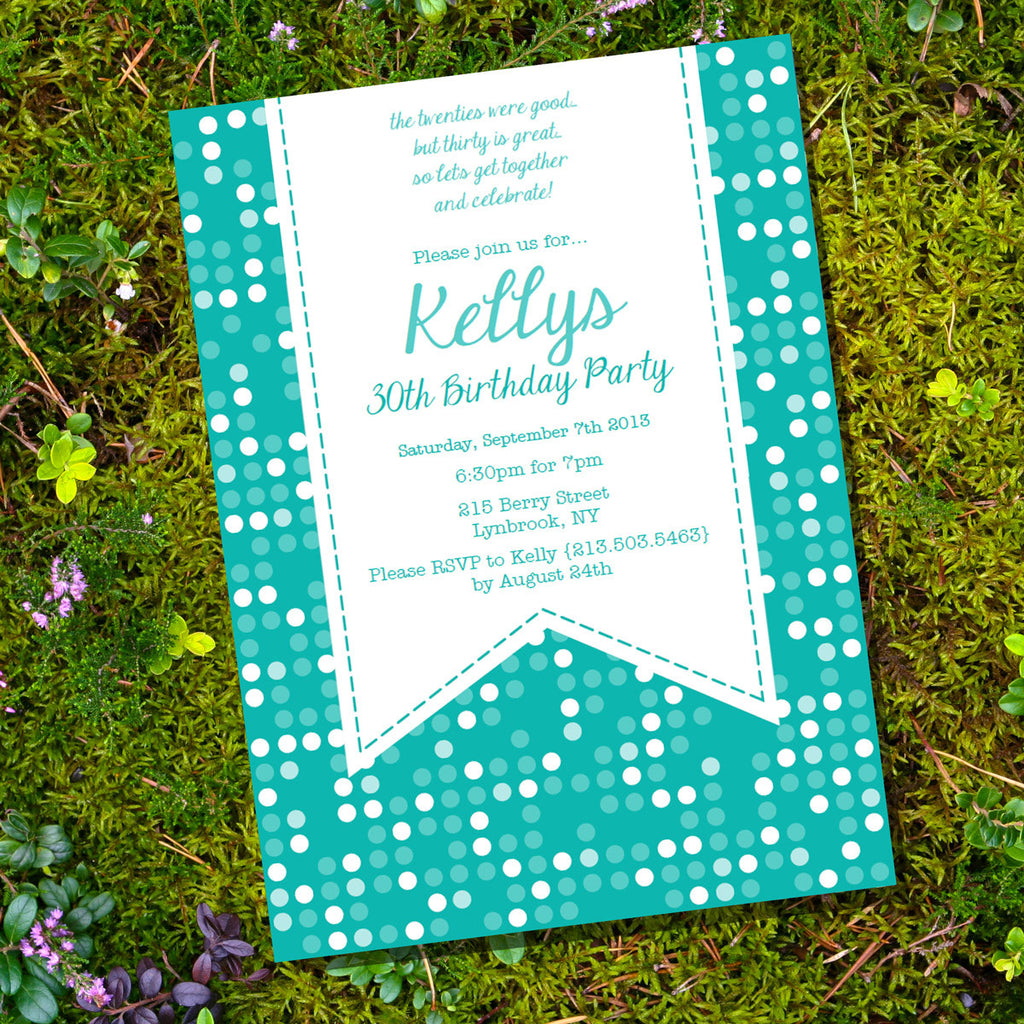 Teal Polka Dot Birthday Invitation