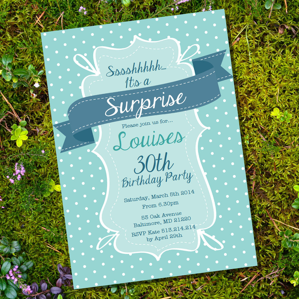 Teal and Navy Blue Birthday Invitation | Navy and Teal Doodle Invite