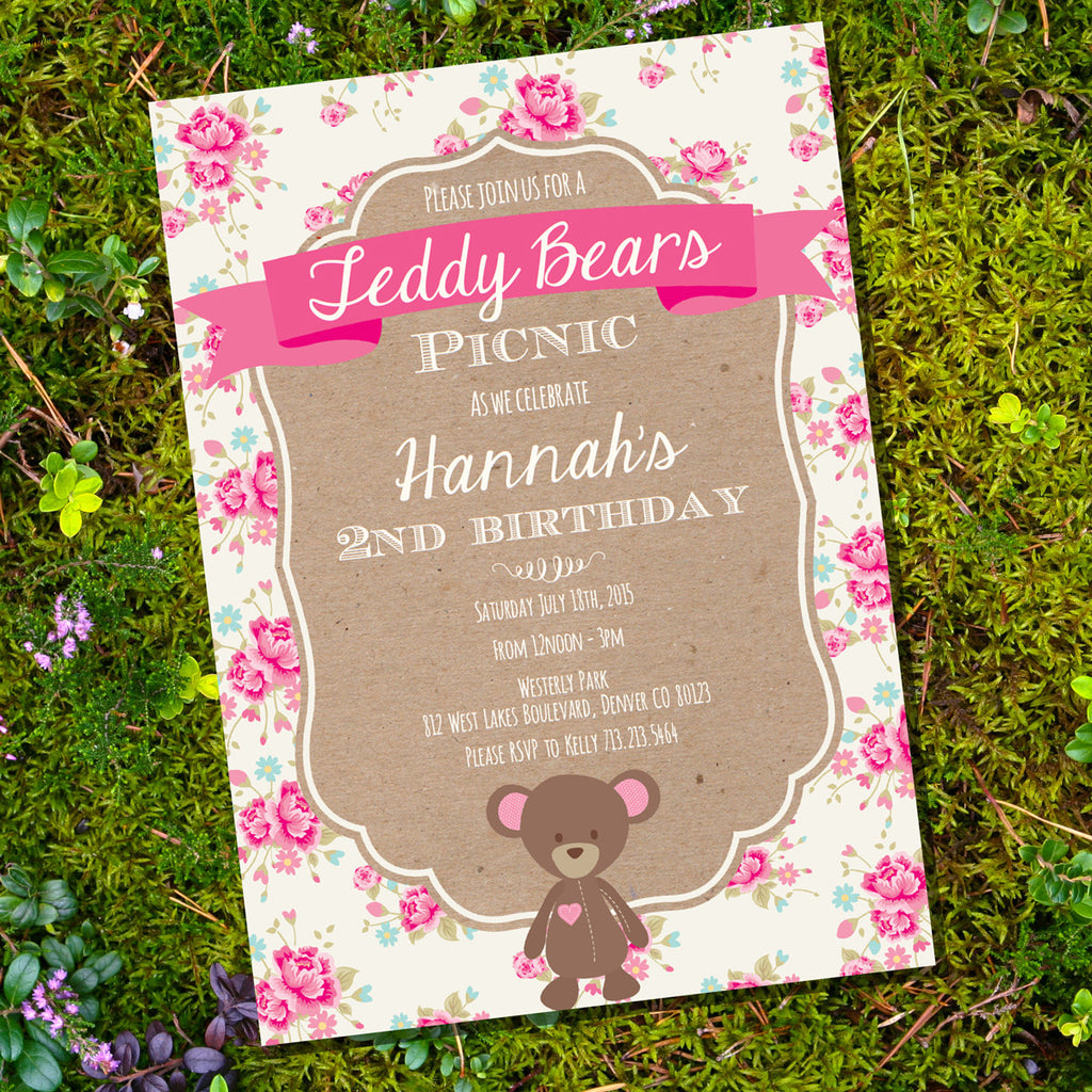 Teddy Bear Picnic Party Invitation | Shabby Chic Floral Invite ...