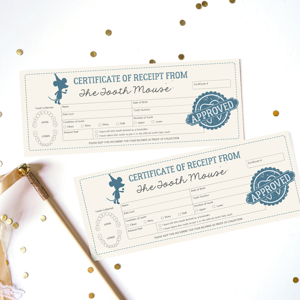 Tooth Mouse Official Certificate and Customer Receipt for Boys