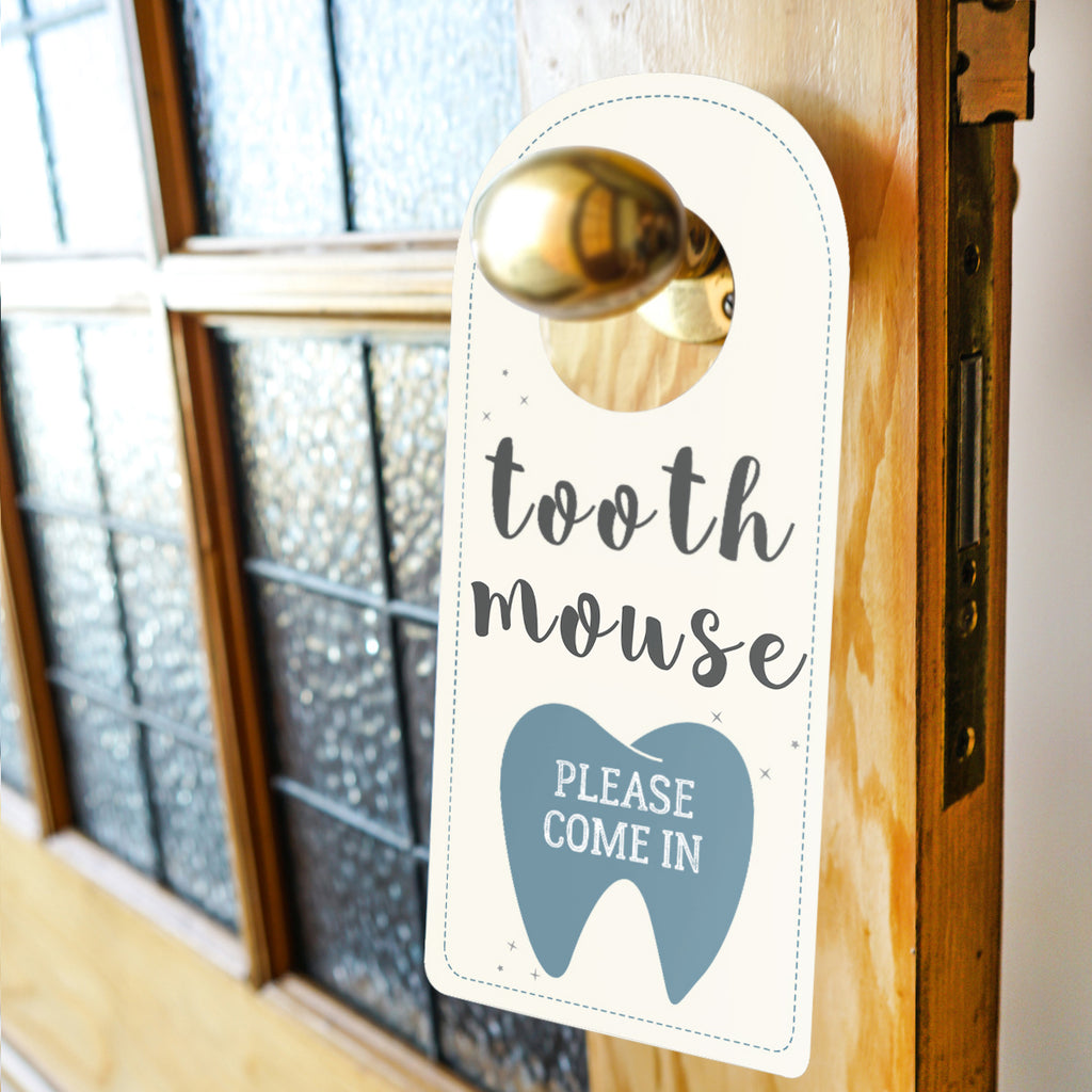 Tooth mouse door sign blue for boys