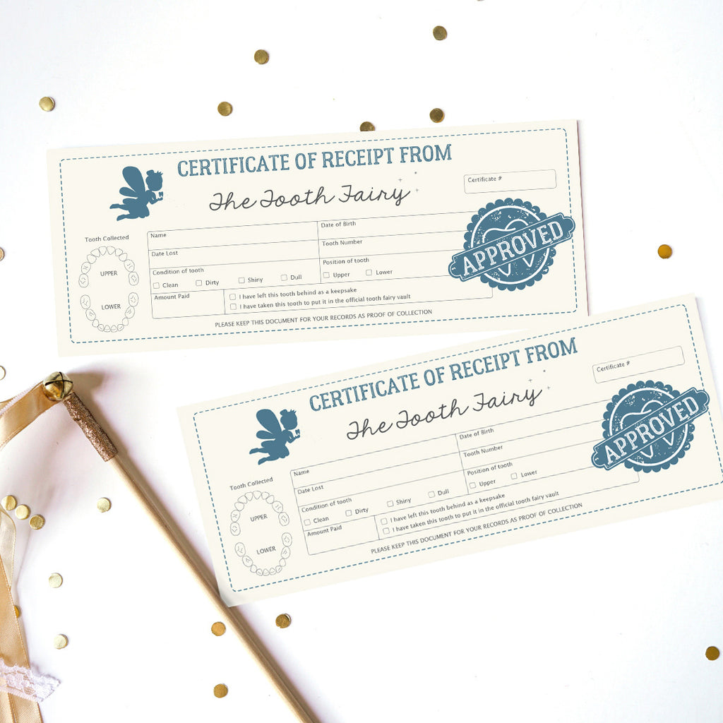 Tooth fairy Certificate in blue for boys