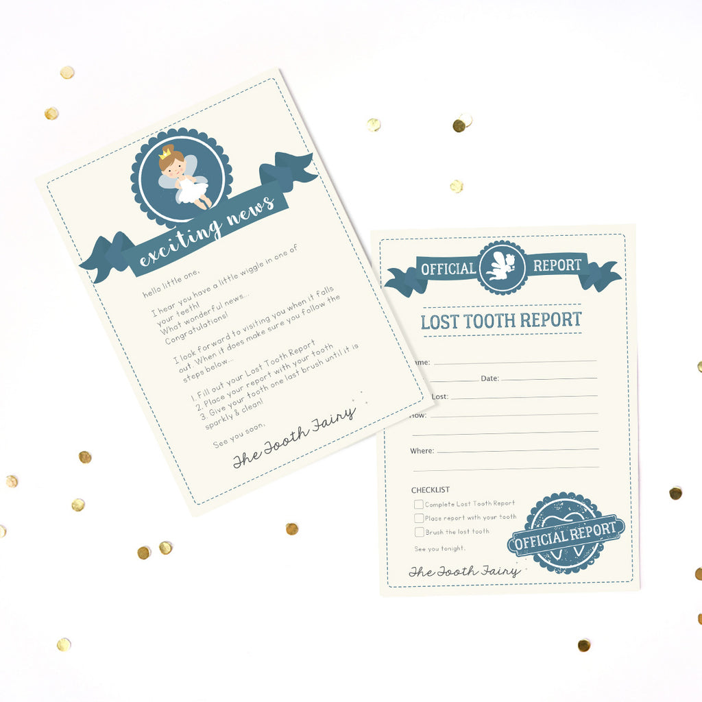 Tooth Fairy letter and lost tooth report in blue for boys