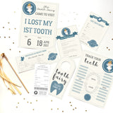 Tooth Fairy Full Set Certificate, Receipt, Poster, Door Sign, in blue for boys.