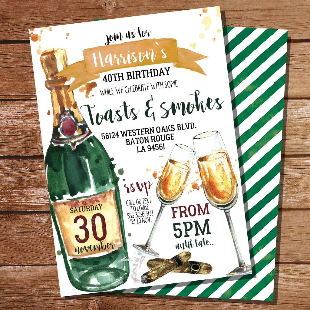Toasts and Smokes Party Invitation