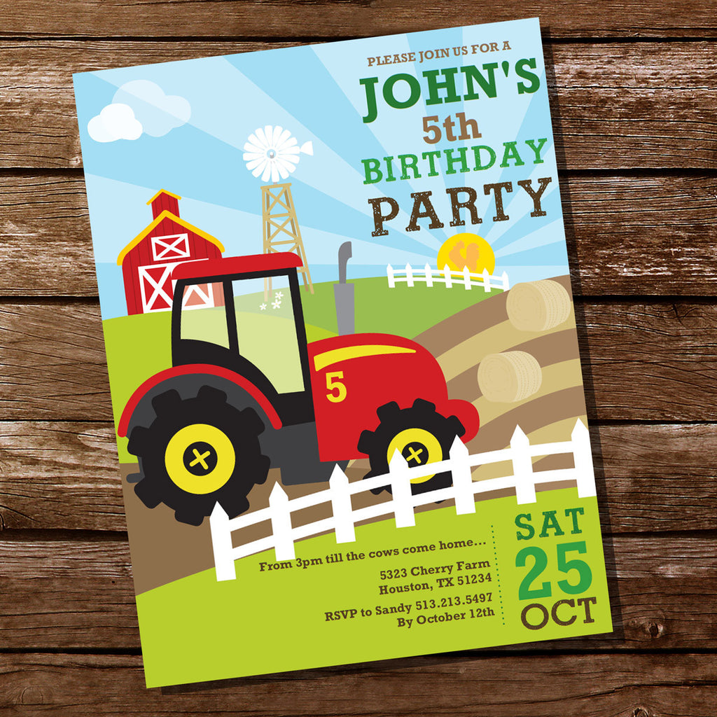 Tractor Birthday Party Invitation for a Boy | Farming Invite