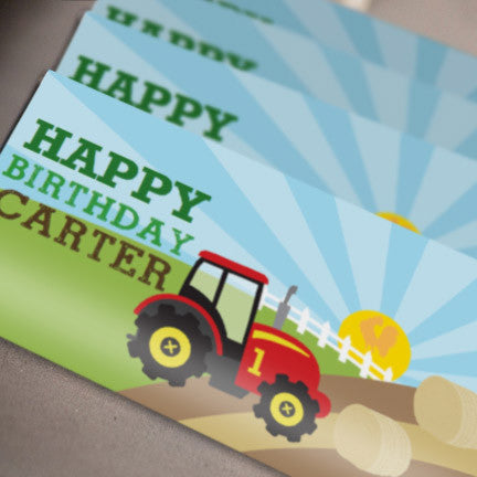 Tractor Birthday Party Candy Wrappers | Farming Chocolate bar wrappers
