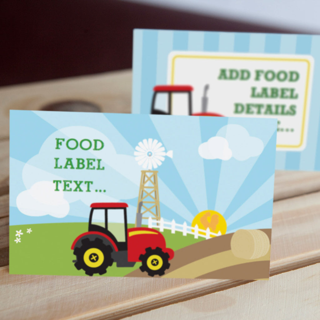 Tractor Birthday Party Food Label Tent Cards | Farming Party Labels