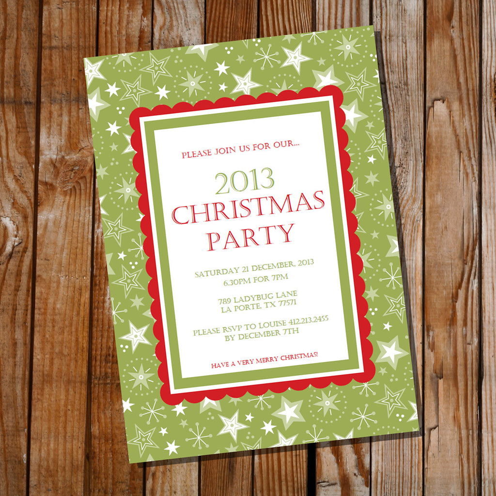 Traditional Christmas Party Invitation | Green and Red Holiday Invite Template