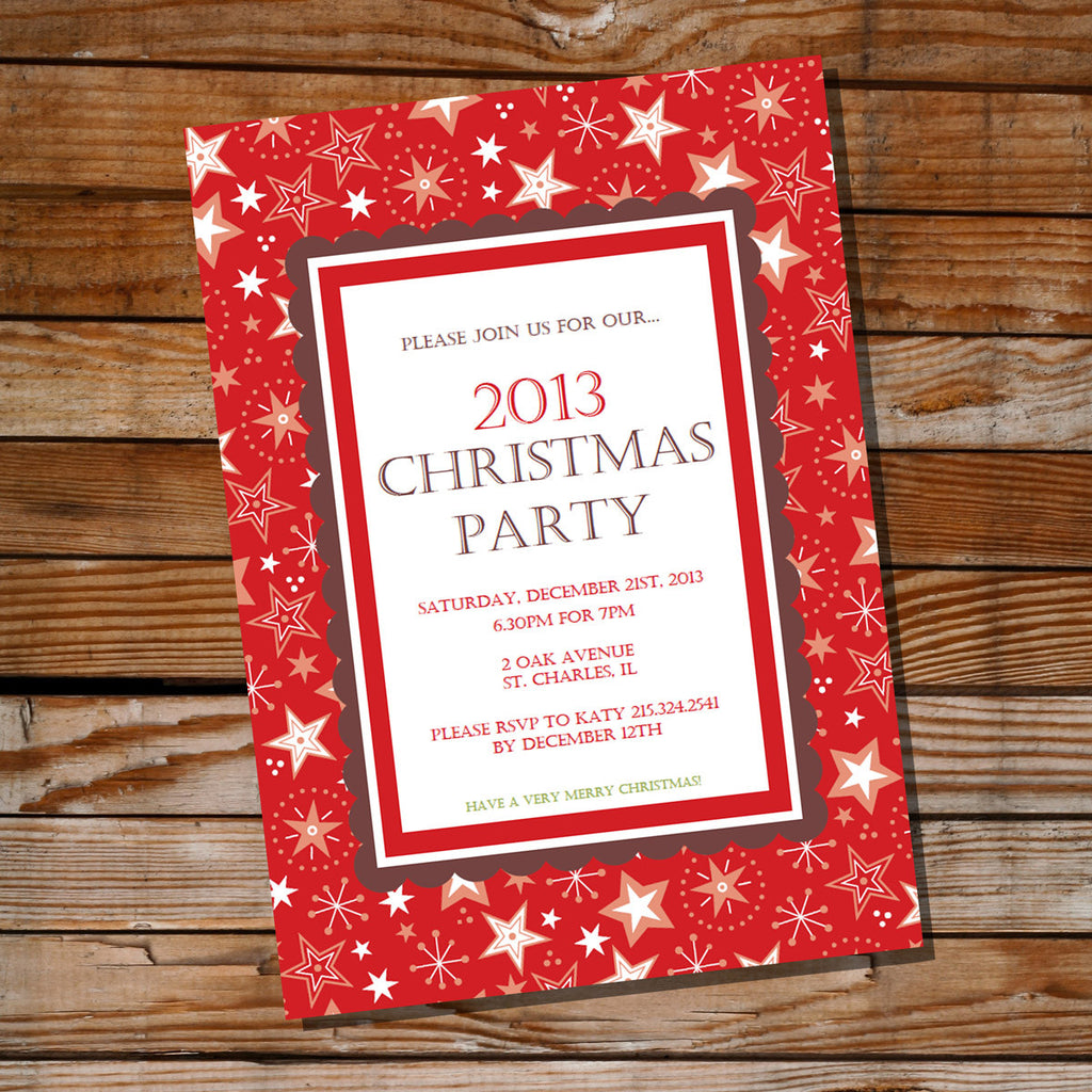 Traditional Red Christmas Party Invitation | Red Holiday Invite Template