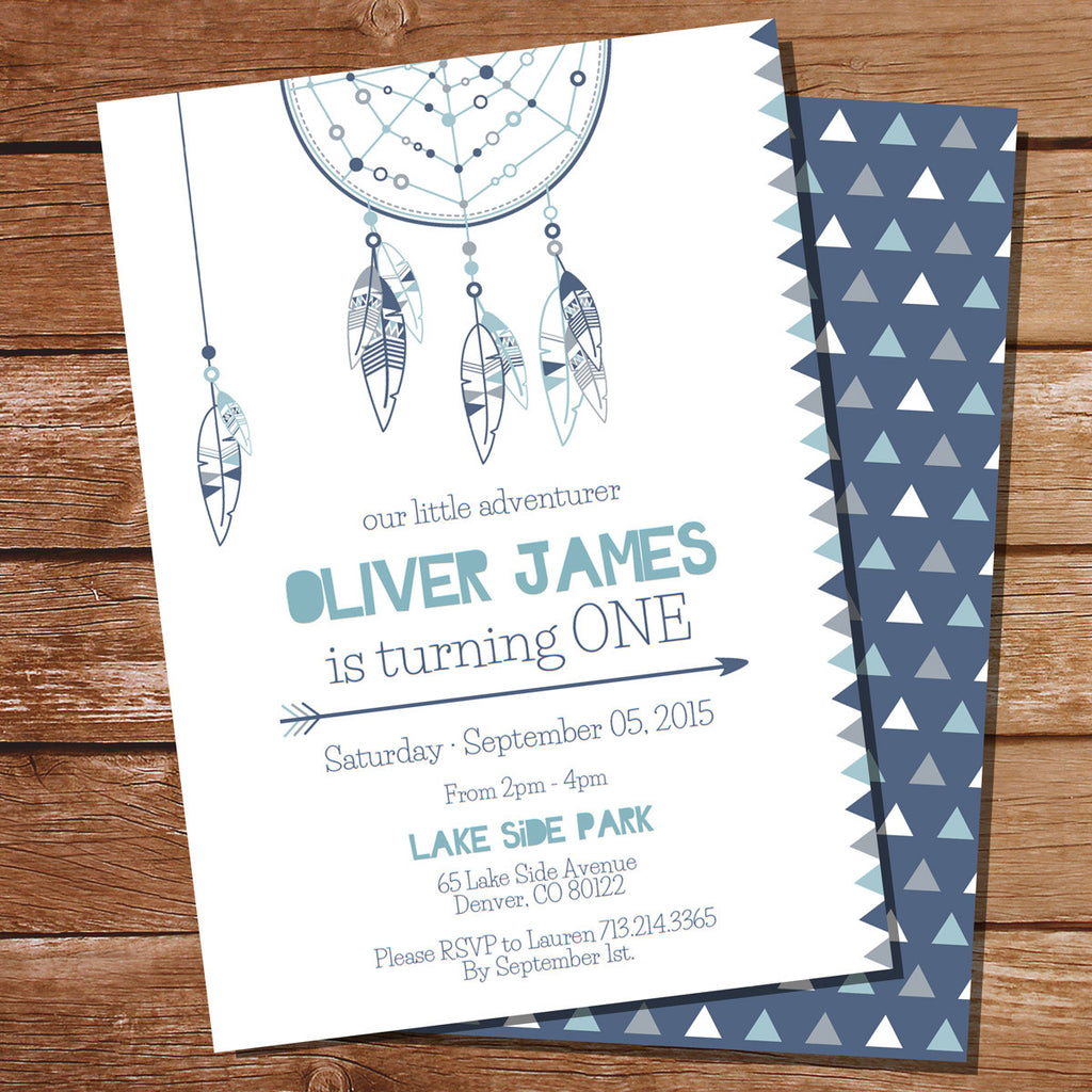 Tribal Birthday Party Invitation | Blue Tribal Birthday Party Template