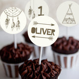 Tribal Birthday Party Cupcake Toppers