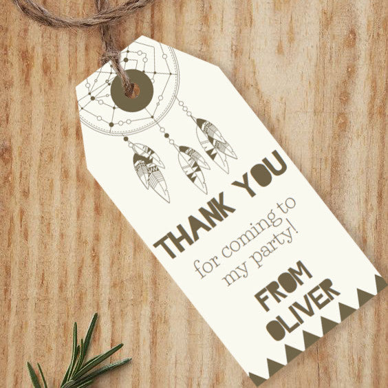 Tribal Birthday Party Favor Tags | TeePee Party Favors