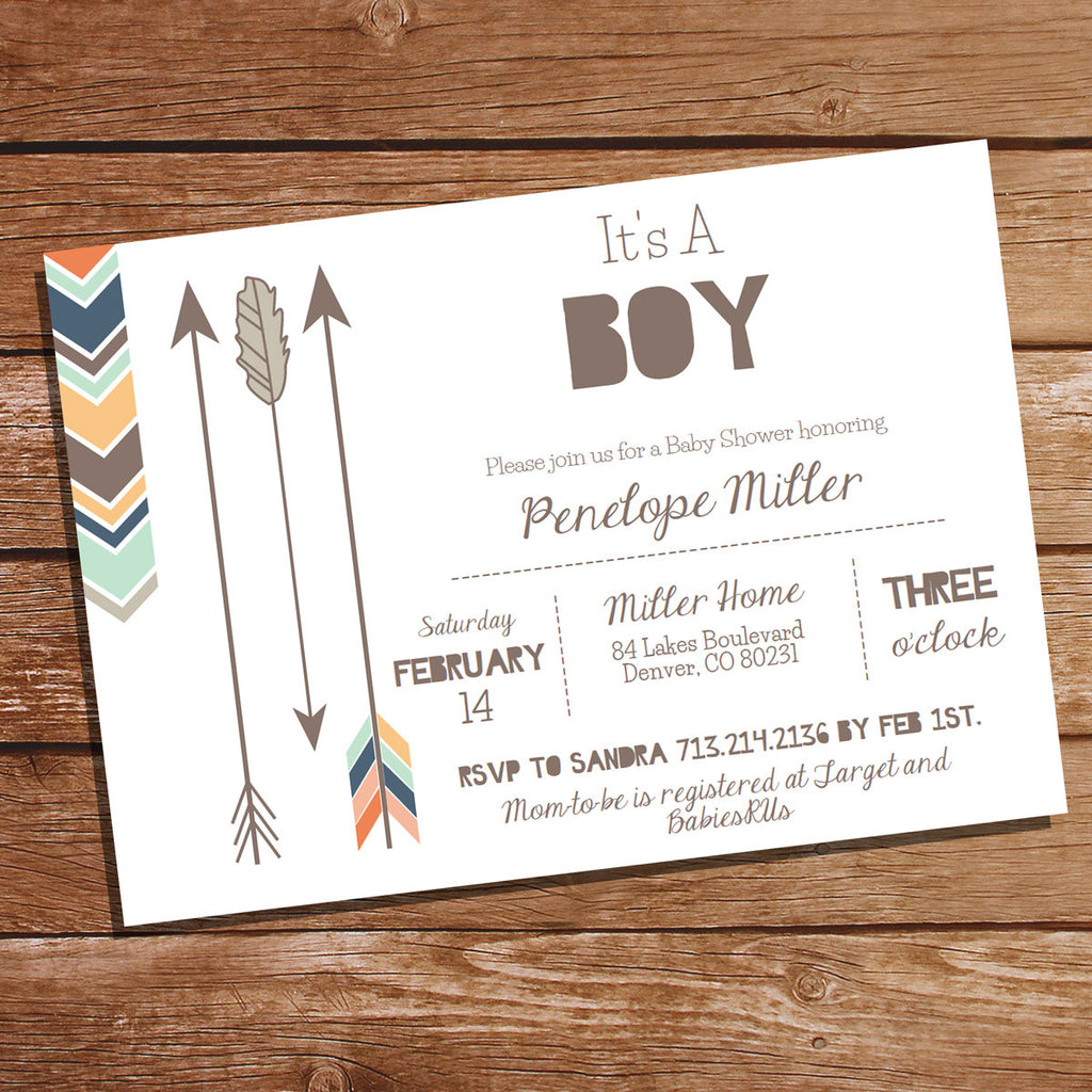 It's A Boy Tribal Baby Shower Invitation