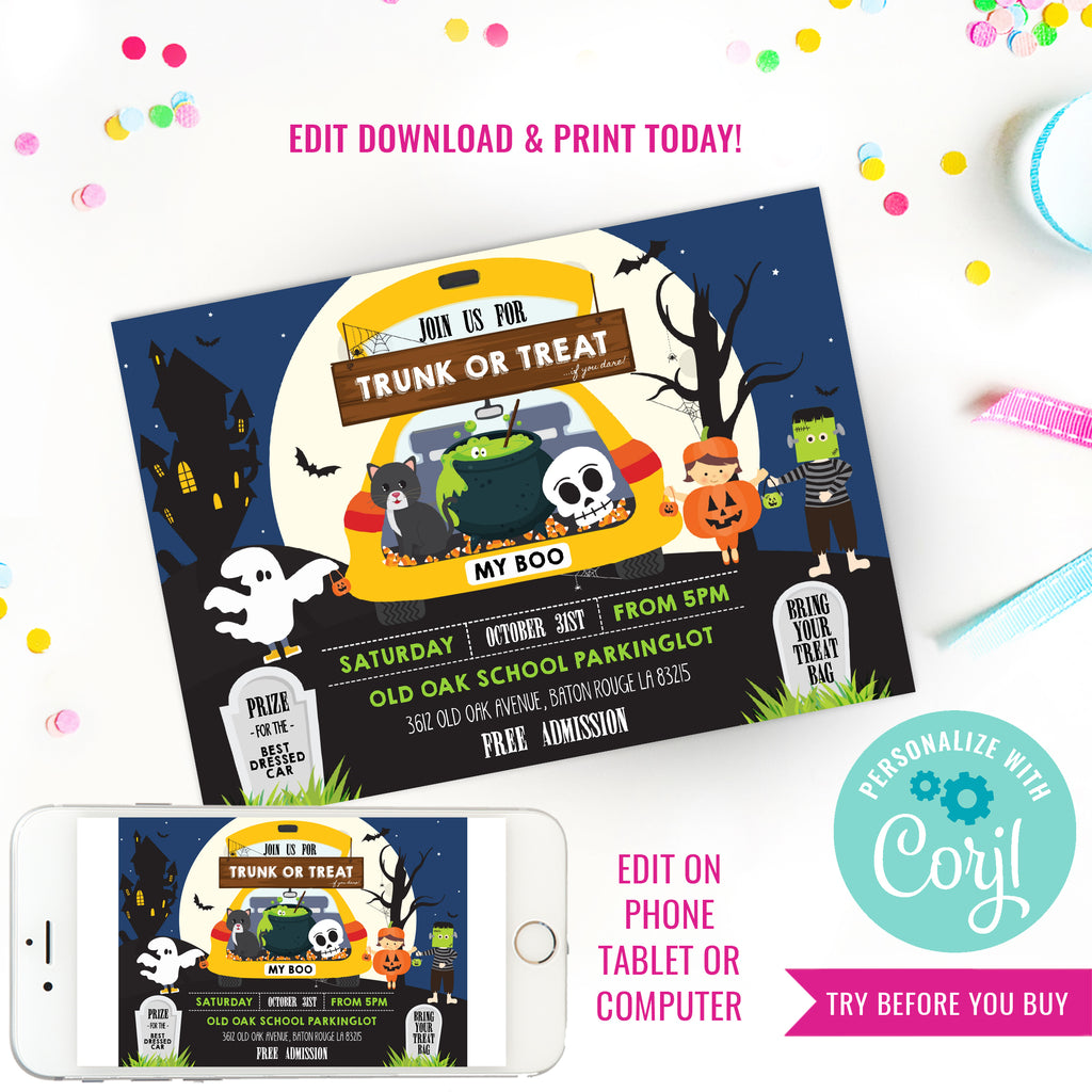 Halloween Trunk Or Treat Party Invitation