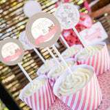 Girl's baby shower cupcake wrappers and toppers