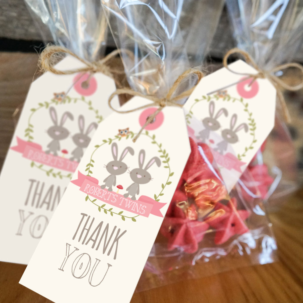 Twin bunny baby shower favor tags woodland twin baby for Baby shower decoration ideas for twin boys