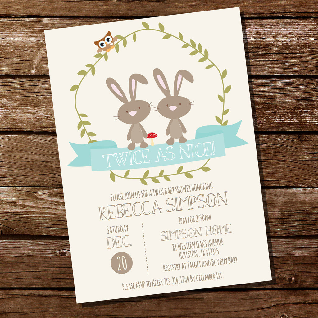 Woodland Bunny Twin Baby Shower Invitation Twin Baby Shower