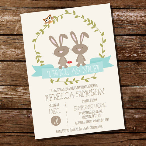 Woodland Twin Baby Shower Invitation