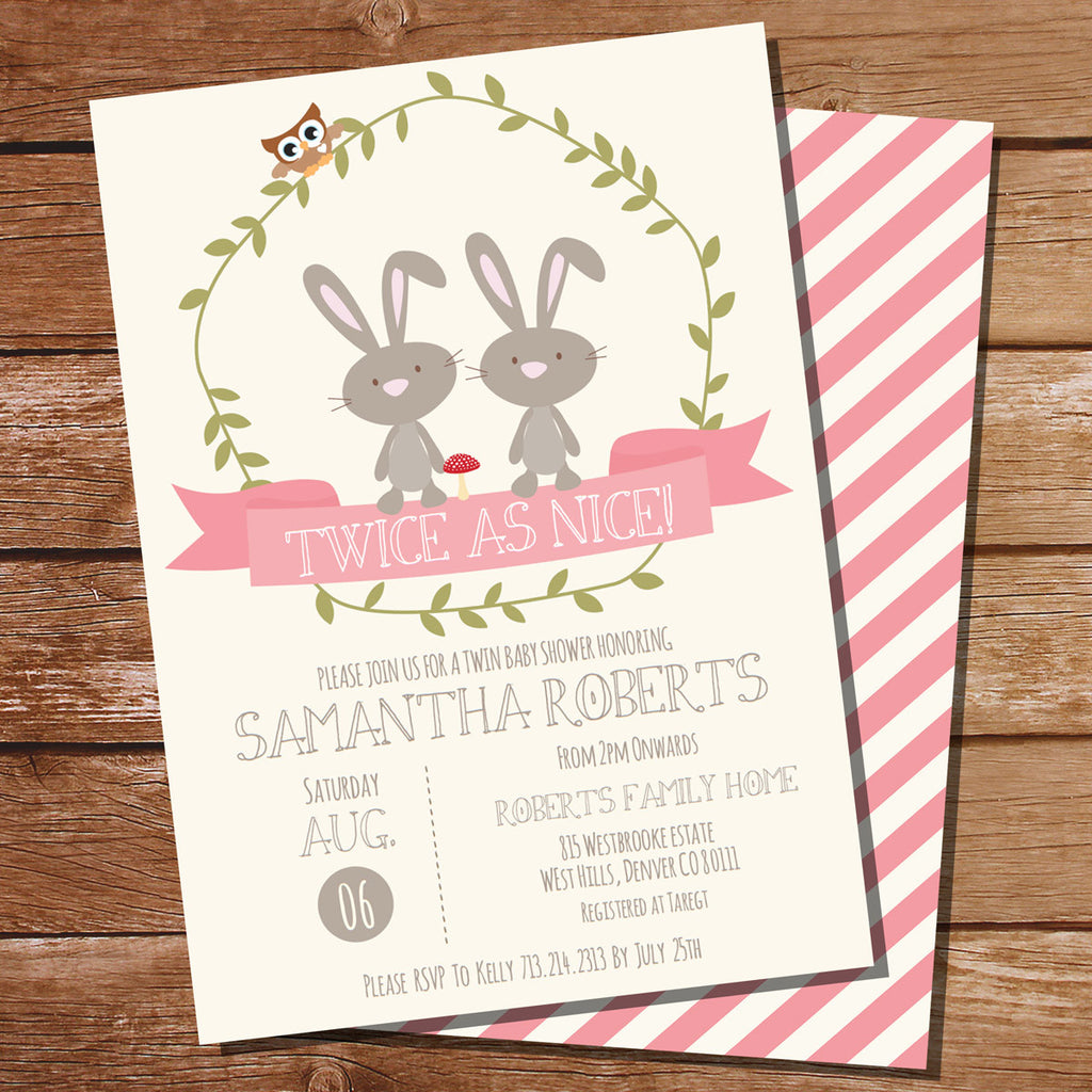 Twin Bunny Baby Shower Invitation for Girls Twin Baby Shower