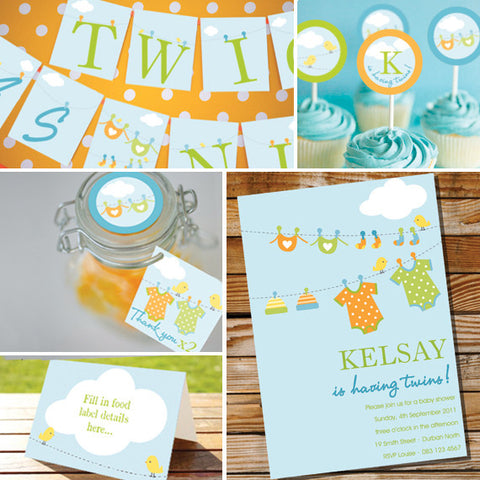 Clothes Line Twin Baby Shower Decorations