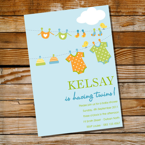 Clothes Line Twin Baby Shower Invitation