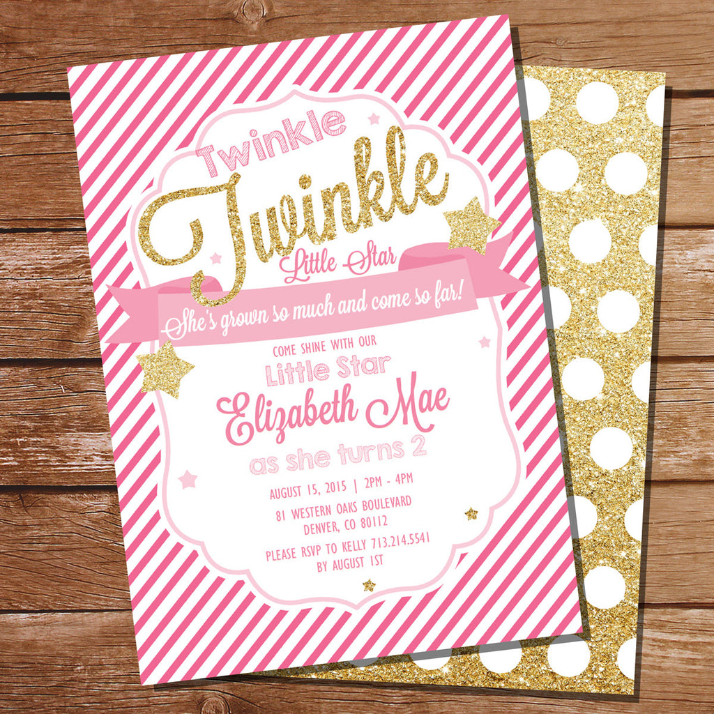 Twinkle Twinkle Little Star Birthday Party Invitation | Gold Glitter Invitation