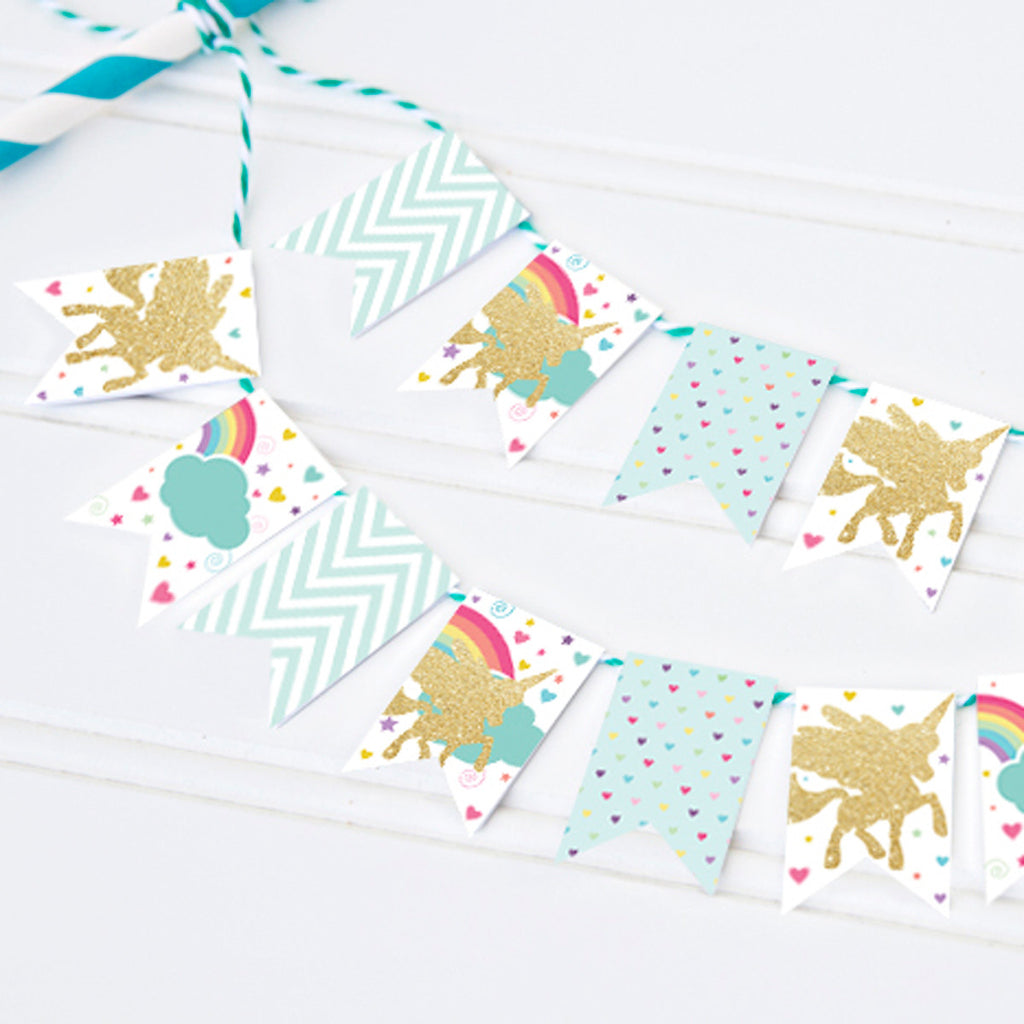 Gold Glitter Unicorn Mini Cake Bunting | Rainbow Unicorn