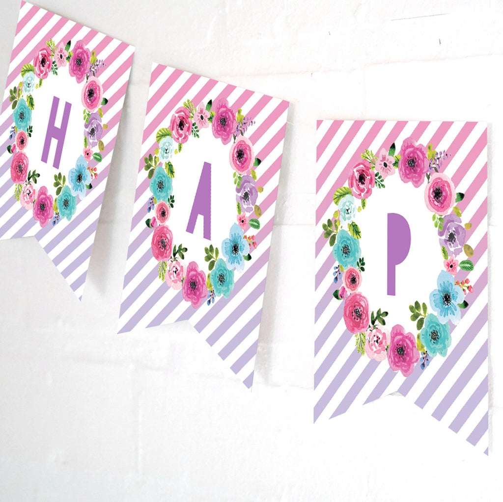 Unicorn Party Happy Birthday Banner | Floral Pastel Unicorn