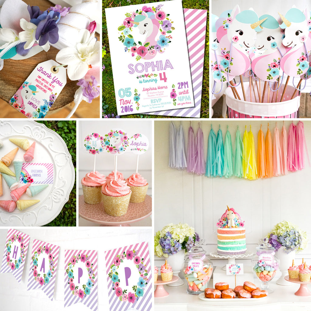 Unicorn Birthday Party Decorations | Watercolor Floral Unicorn | Unicorn Party Decor