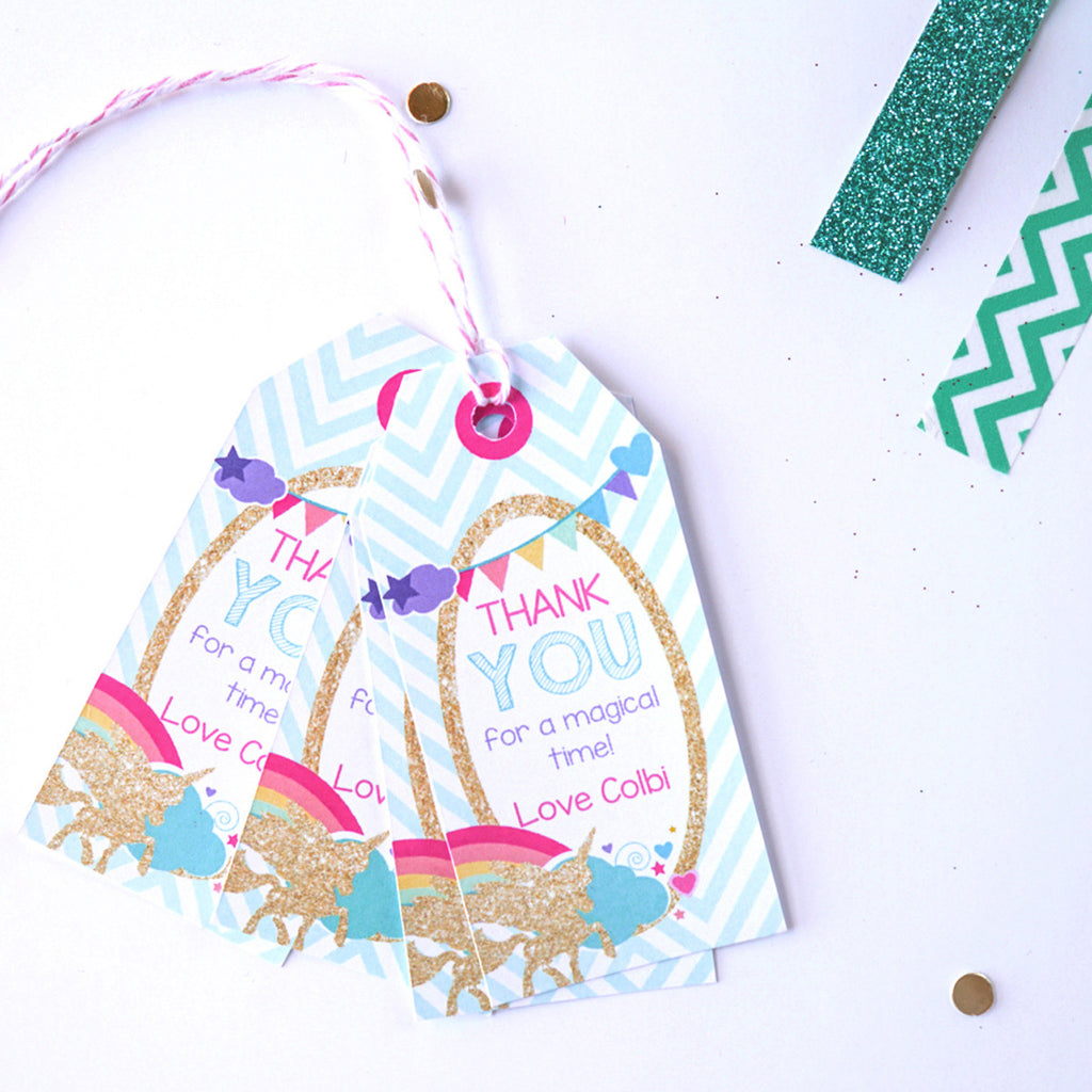 Gold Glitter Unicorn Birthday Party Favor Tags | Rainbow Unicorn Party Favors