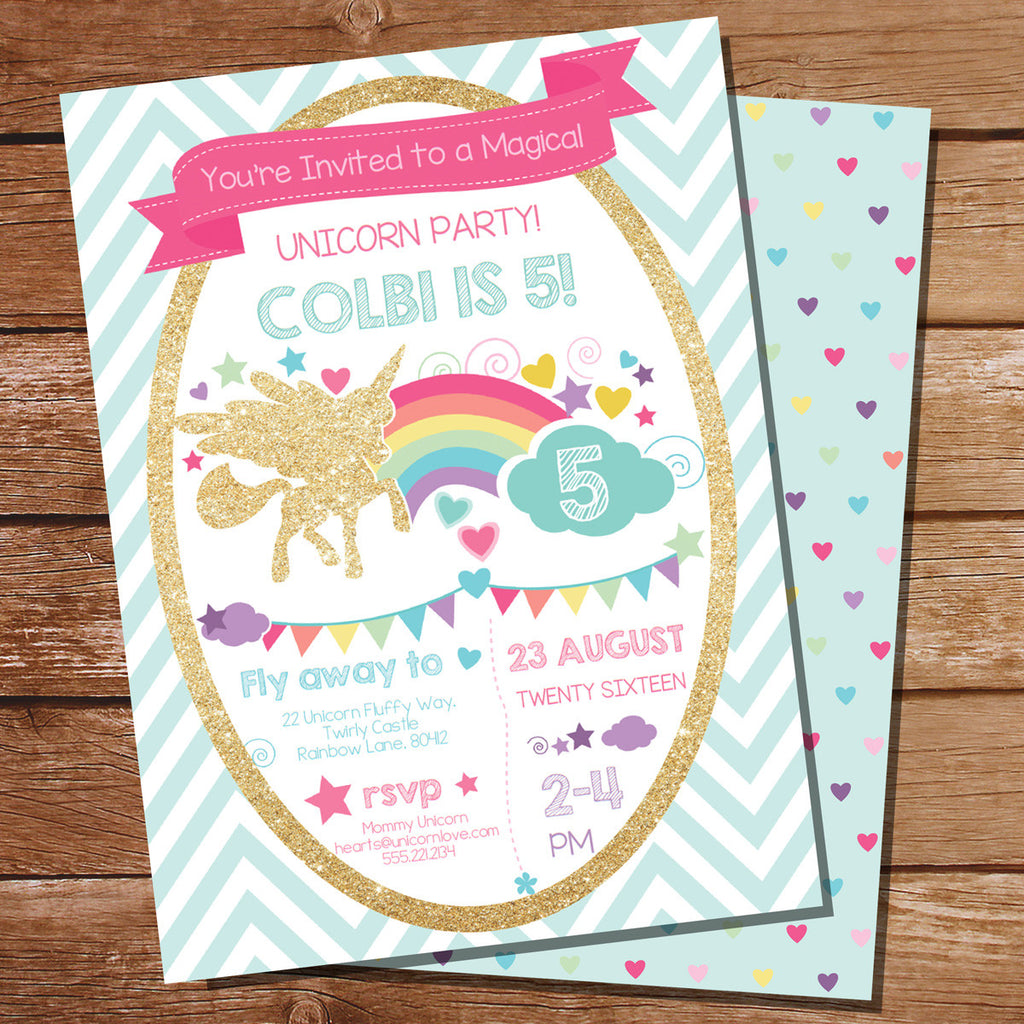 Glitter Unicorn Birthday Party Invitation for a Girl – Unicorn Birthday Party Invitations
