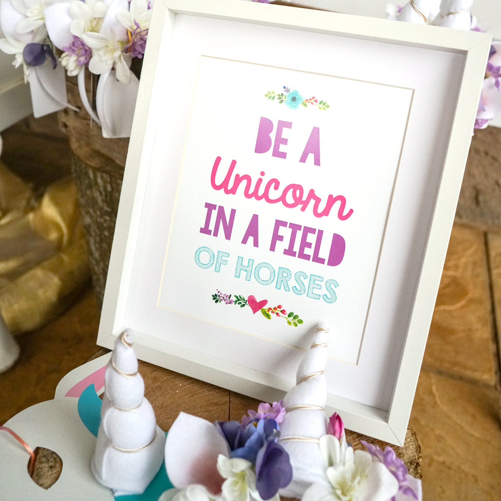 photograph relating to Be a Unicorn in a Field of Horses Free Printable titled Unicorn Birthday Social gathering Poster Floral Unicorn Print Unicorn Desk Decor
