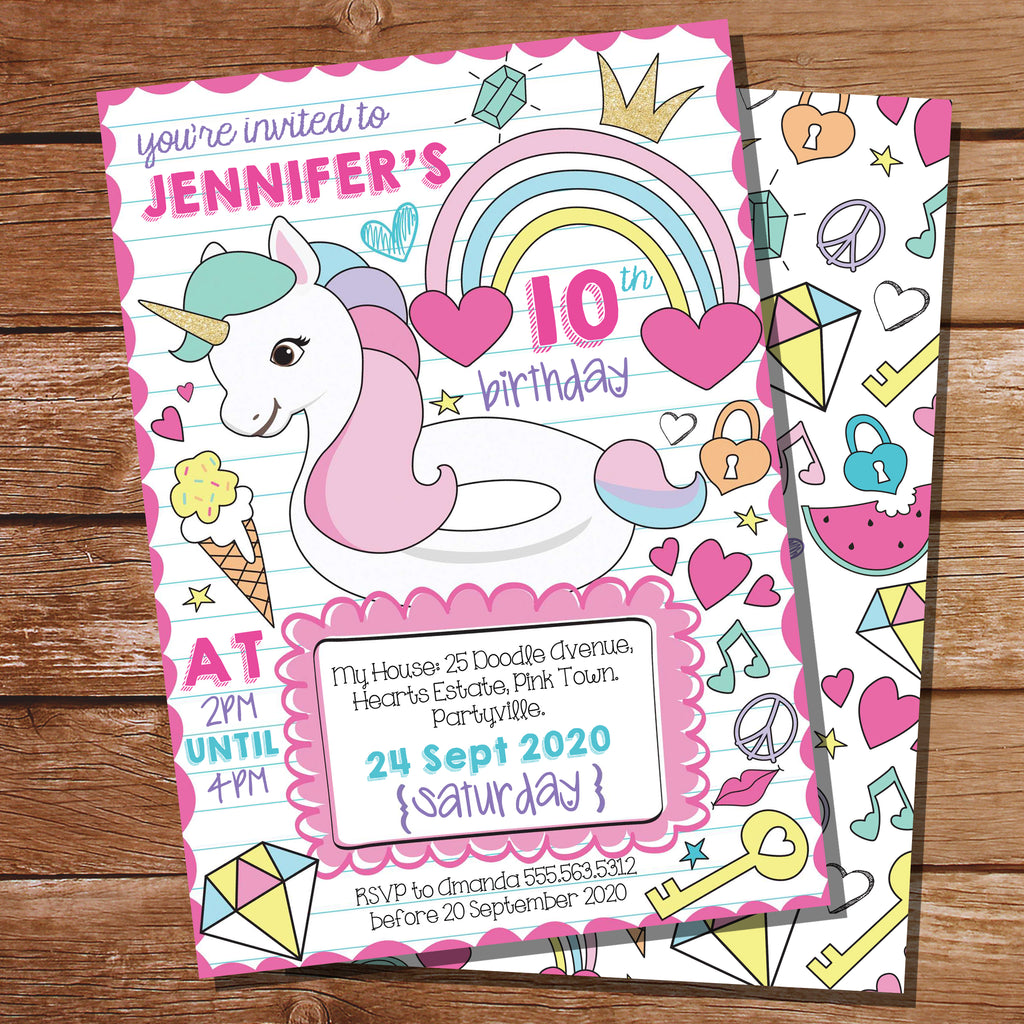 Unicorn Pool Party Invitation