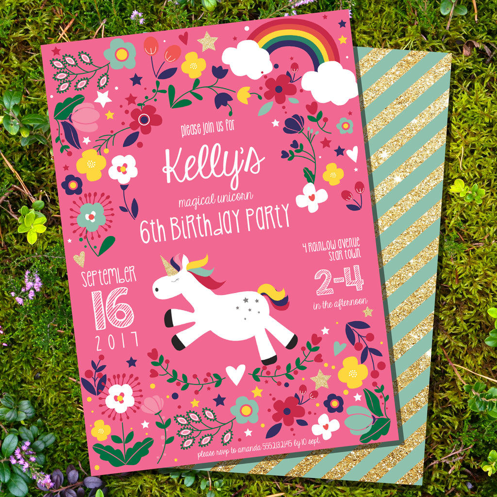 Cute Rainbow Unicorn Editable Invitation