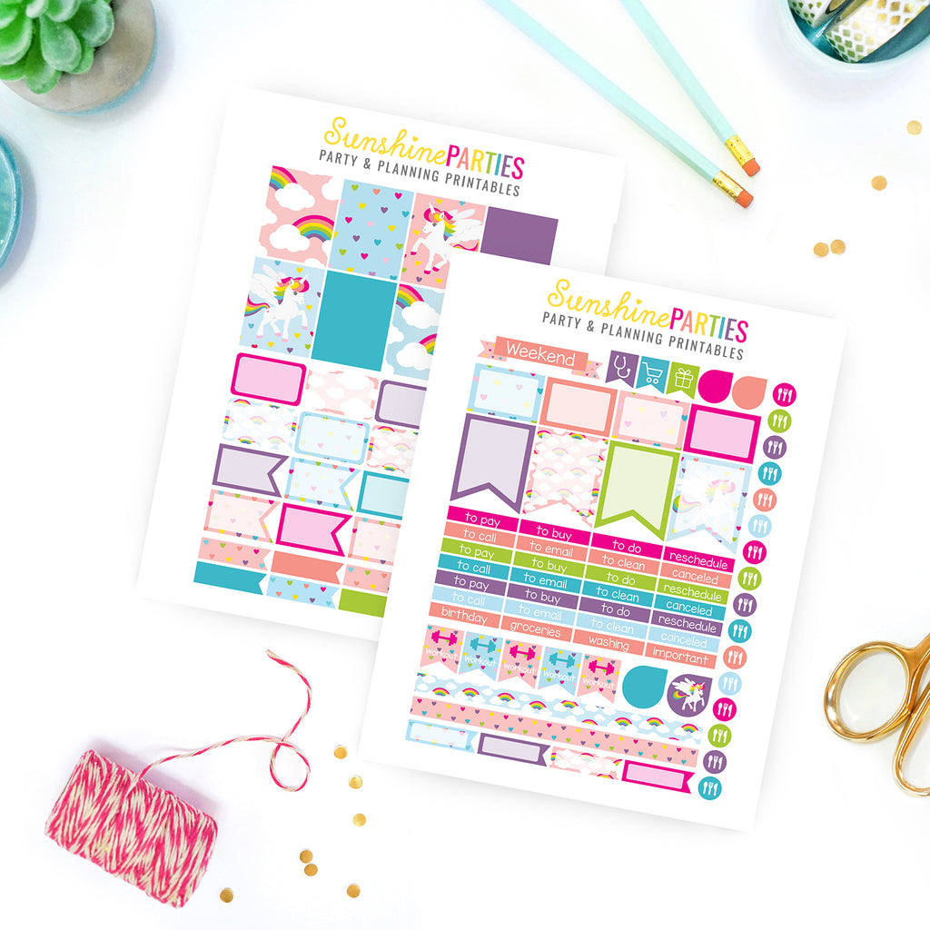 Unicorn Rainbow Planner Stickers | Organizer Planner Stickers
